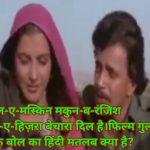 Zihale muskin makun-b-ranjish hindi song lyrics meaning in hindi kya hai